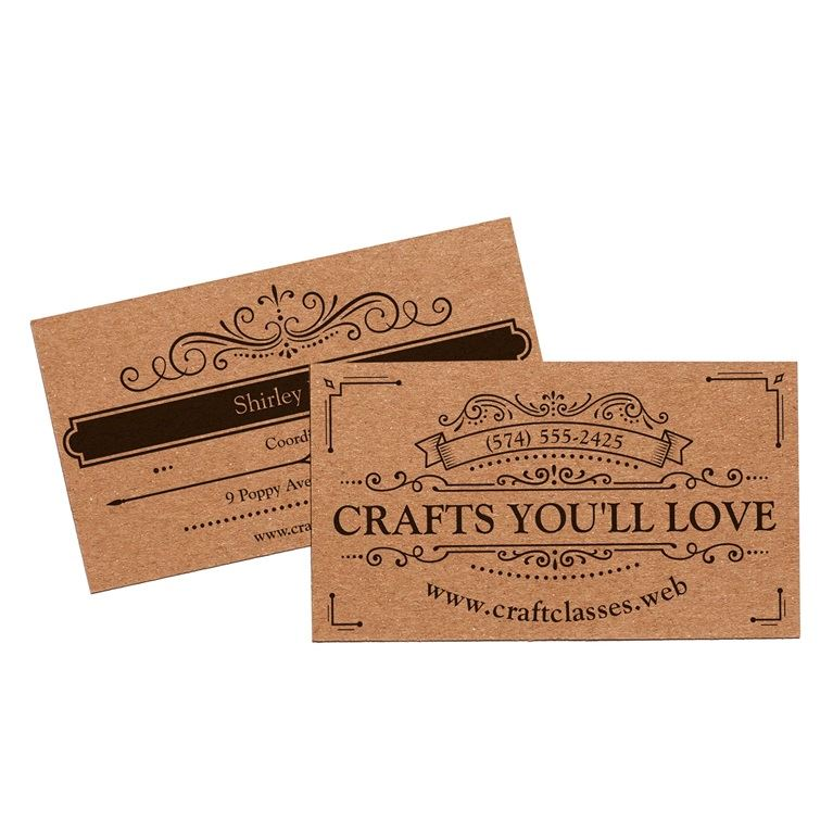 Business card paper stocks vistaprint for Brown paper business cards