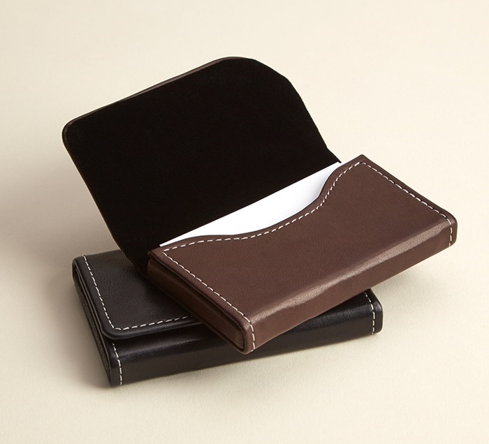 brown leather horizontal business card holders - Leather Business Card Holder