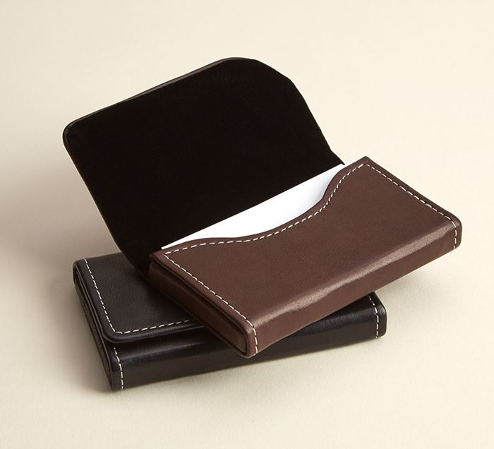 Brown leather business card holder brown leather card case vistaprint brown leather horizontal business card holders reheart Image collections