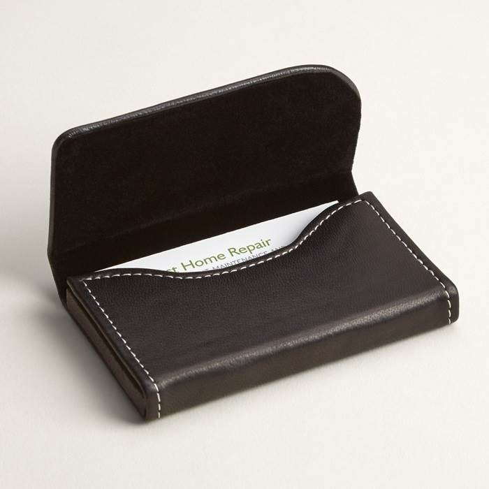 Black Leather Business Card Holders, Horizontal Leather Card Case ...
