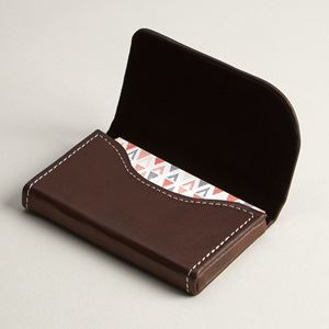 Business card holders cases vistaprint brown leather horizontal business card holders reheart Images