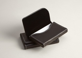 Black Leather Business Card Holders Horizontal Leather Card Case