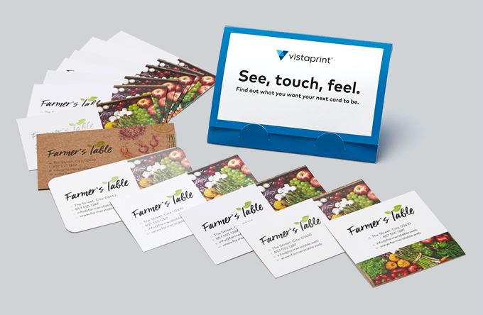 Business cards make your own custom cards vistaprint free business card sample kit reheart Choice Image