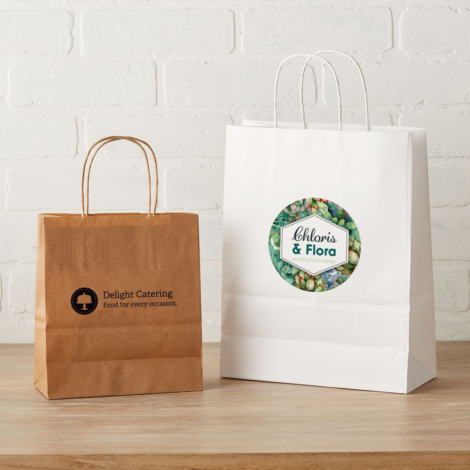 Custom Kraft Paper Bags - Brown & White | Vistaprint