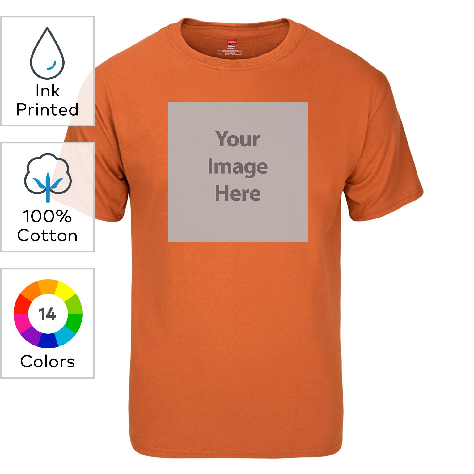 Custom Hanes Tagless Ink Printed Short Sleeve T Shirt Vistaprint