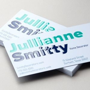 Raised print UV business cards