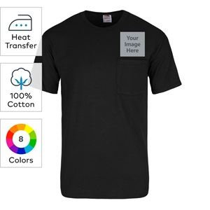 Fruit of the Loom® heat transfer heavy cotton HD short sleeve T-shirts with left chest pockets